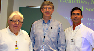 Dr. Roland M. Nardone (l), professor emeritus at Catholic University, Dr. Francis Collins (c) and Bio-Trac Director Mark Nardone pause for a photo taken at a past FAES/NINR Summer Genetics Institute (SGI) program in which Collins, then director of NHGRI, was a presenter. SGI is one of the specialty programs with which the Bio-Trac program is involved.