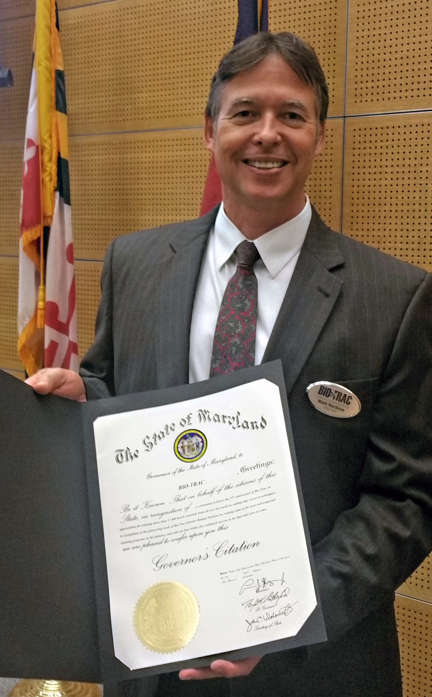 BioTrac Receives Governor's Citation